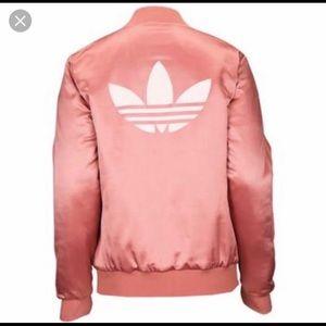 Rose pink satin  Adidas bomber